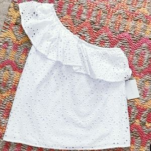1.STATE blouse Eyelet One Shoulder ultra white
